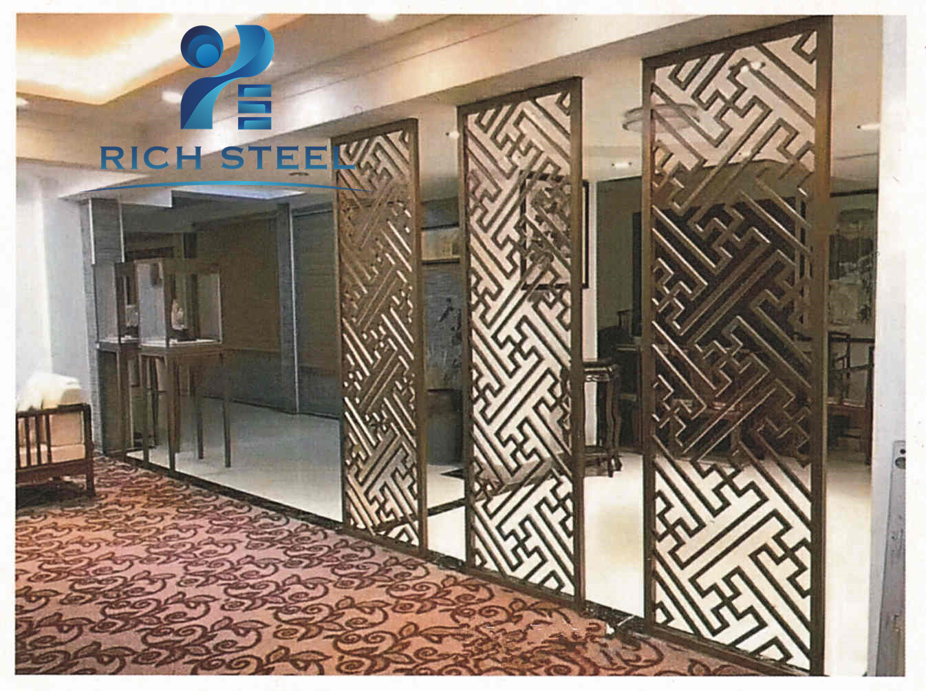 Decorative Stainless Steel Laser Cut Metal Partition Decoration Screen Panels Room Dividers Indoor Room Separator Rich Steel